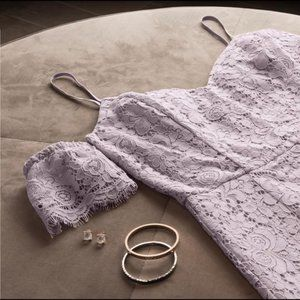 Dynamite Purple Lilac Floral Lace Dress w/ sleeves
